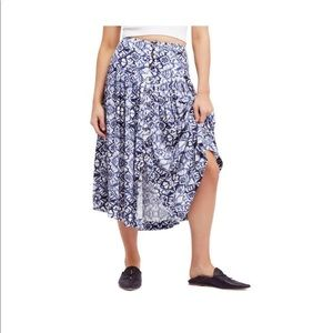 Free People Lovers Dream  Midi Button Skirt